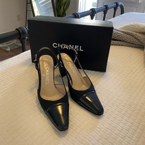 Chanel Black canvas strap heel